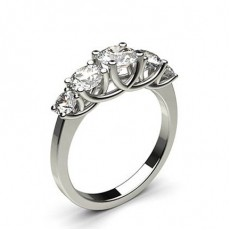 4 Prong Setting Plain Five Stone Ring
