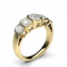 Emerald Yellow Gold 5 Stone Diamond Rings