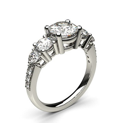 Channel Setting Plain Five Stone Ring