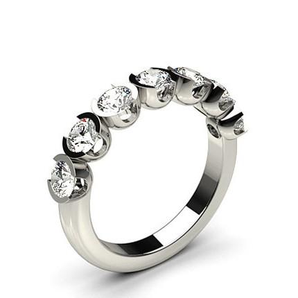 Semi Bezel Setting Plain Seven Stone Ring