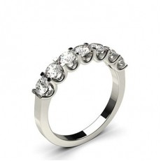 Bague 7 pierres diamant princesse serti 4 griffes en 1.00ct