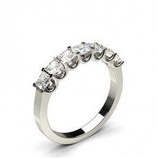Princess White Gold 7 Stone Diamond Rings