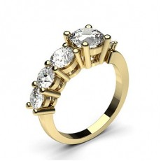 Round Yellow Gold 7 Stone Diamond Rings