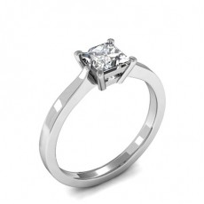 6 Prong Setting Round Diamond Plain Engagement Ring
