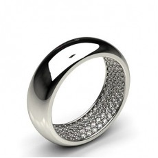 2.00mm Studded Diamond Slight Dome Profile Shaped Band