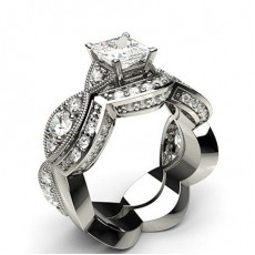 Princess Platinum  Bridal Set Diamond Engagement Rings