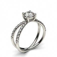 Round Platinum Contemporary Engagement Rings