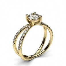 Round Yellow Gold Contemporary Diamond Engagement Rings