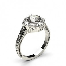 Double Prong Setting Studded Engagement Ring