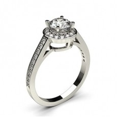 Round Platinum Halo Diamond Engagement Rings