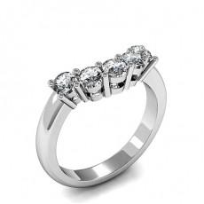 2 Prong Setting Plain Three Stone Ring