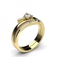 Round Yellow Gold Bridal Set Engagement Rings