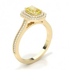 Emerald Yellow Gold Yellow Diamond Engagement Engagement Rings