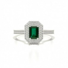 Emerald Platinum Halo Diamond Engagement Rings