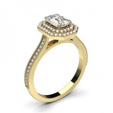 Emerald Yellow Gold Halo Diamond Engagement Rings