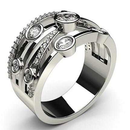 Prong & Full Bezel Setting Round Diamond Fashion Ring