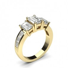 Emerald Yellow Gold Diamond Rings