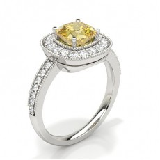Cushion White Gold Yellow Diamond Engagement Engagement Rings