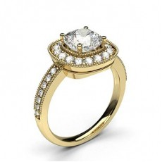 Cushion Yellow Gold  Halo Diamond Engagement Rings