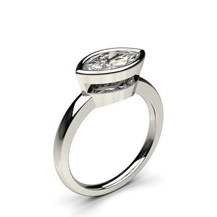 Full Bezel Setting Marquise Diamond Plain Engagement Ring