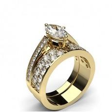 Marquise Yellow Gold  Bridal Set Diamond Engagement Rings