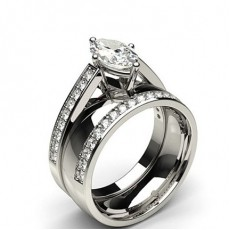Marquise White Gold  Bridal Set Diamond Engagement Rings