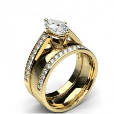 Marquise Yellow Gold Bridal Set Diamond Engagement Rings