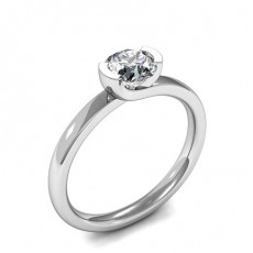 Semi-Bezel Setting Round Diamond Plain Engagement Ring