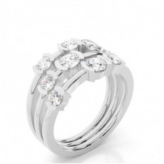 Round White Gold Statement Diamond Rings