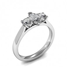 White Gold Three Stone Diamond Rings