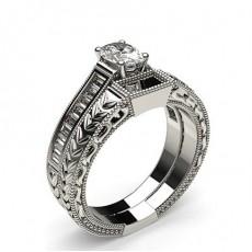 Oval White Gold  Bridal Set Diamond Engagement Rings