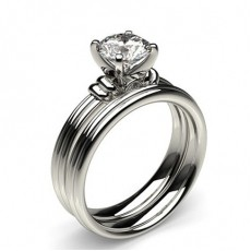 4 Prong Setting Plain Engagement Ring With Matching Band