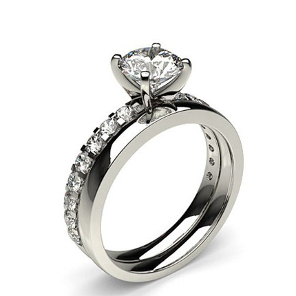 Buy 4 Prong Square Setting White Gold Bridal Set Diamond Engagement