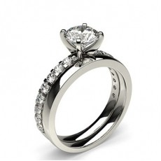Round Platinum Bridal Set Diamond Engagement Rings