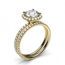 Cushion Yellow Gold  Bridal Set Diamond Engagement Rings