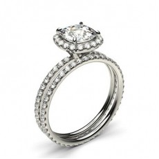 Cushion Platinum Bridal Set Diamond Engagement Rings