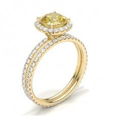Cushion Yellow Gold Bridal Set Diamond Engagement Rings