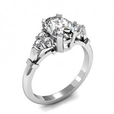 Oval White Gold Contemporary Diamond Engagement Rings