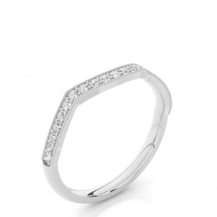 Studded Slight Comfort Fit Diamond Shaped Band