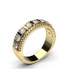 Round Yellow Gold Half Eternity Diamond Rings