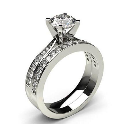 Buy White Gold Bridal Set Diamond Engagement Ring Featuring 4 Prong