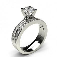 Round Platinum  Bridal Set Diamond Engagement Rings