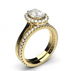 Oval Yellow Gold Bridal Set Engagement Rings