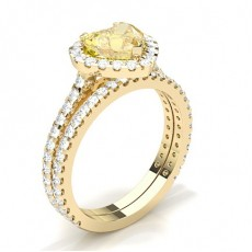Heart Yellow Gold Bridal Set Diamond Engagement Rings