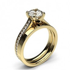 Round Yellow Gold  Bridal Set Diamond Engagement Rings