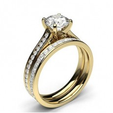 Round Yellow Gold Bridal Set Diamond Engagement Rings