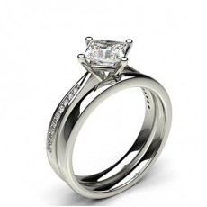 Princess White Gold Bridal Set Engagement Rings