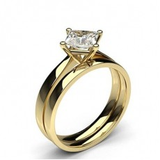 Princess Yellow Gold Bridal Set Engagement Rings