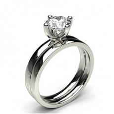 White Gold Princess Bridal Set Diamond Engagement Ring