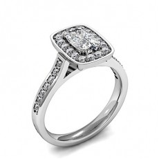 Cushion Platinum Halo Diamond Engagement Rings